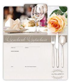 Geschenkgutschein G2001 für Restaurants Restaurants, Table Decorations, Food, Fine Dining, Gifts, Restaurant, Meals, Dinner Table Decorations, Diners