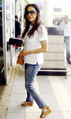 Juhi Chawla spotted at the Mumbai airport. #Bollywood #Fashion #Style #Beauty