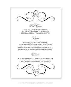 Wedding menu template printable instant download for word and menu template google search saigontimesfo