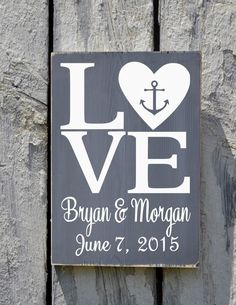 Rustic Beach Wedding Sign Personalized Anchor Nautical Love Signs Wedding Shower Gift Bride Groom Names Rustic Ocean Sea Wood Plaque