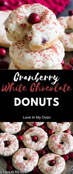 cranberry, white chocolate, baked donuts, baked, donuts, cake, Christmas, Christmas baking, breakfast via @loveinmyoven