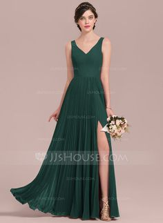 A-Line/Princess V-neck Floor-Length Chiffon Bridesmaid Dress With Split Front Pleated (007126466)