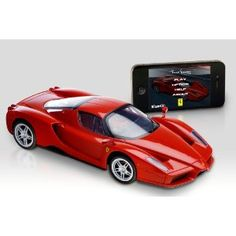 The iPhone Remote Controlled Enzo Ferrari - Hammacher Schlemmer - This is the Enzo Ferrari remotely controlled from an iPhone that provides a virtual driving experience. Remote Control Cars, App Control, Radio Control, Hammacher Schlemmer, Ferrari Racing, Ferrari Auto, Cool Mom Picks, Thing 1, Bluetooth Remote