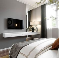 59 Ideas Bedroom Interior Design Luxury Master Suite For 2019 Bedroom Tv Stand, Tv In Bedroom, Trendy Bedroom, Home Decor Bedroom, Bedroom Girls, Bedroom Wardrobe, Luxury Bedroom Design, Modern Home Interior Design, Modern Bedroom Furniture