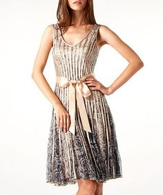 Take a look at this Beige Rose Print Accordian Pleated Dress by Chase 7 on #zulily today!