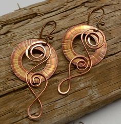 Rustic Copper Earrings with Flame Patina by SunStones on Etsy
