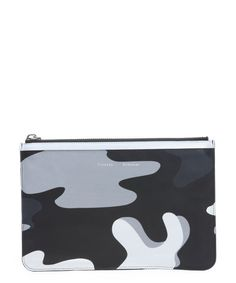 Proenza Schouler black and grey camouflage leather medium pouch