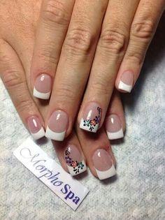 French Manicures, French Tip Nails, Flower Nail Art, Art Flowers, Short Nails Art, Short Nail Designs, Spring Nails, Nail Ideas, Nail Colors