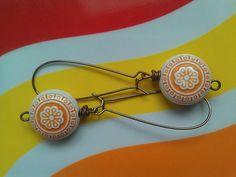 Vintage Lucite Orange and Cream Flower Bead Drop Earrings ($22)