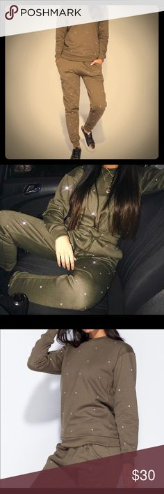Diamante Stud Loungewear Set Color: Khaki Green Fashionably Chic Can dress up or down Diamante stud loungewear set Cotton mix fabric Other