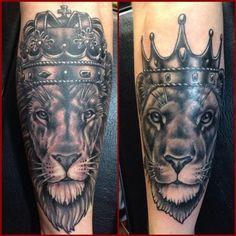 Couple Lion Tattoos by John Clark: TattooNOW :