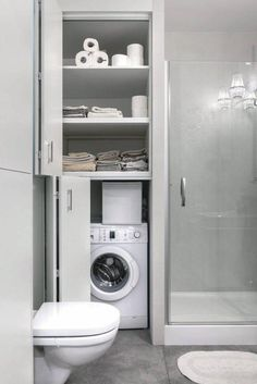 Ideas For Bathroom Storage Furniture Small Tiny House Bathroom, Downstairs Bathroom, Laundry In Bathroom, Bathroom Layout, Bathroom Storage, Master Bathroom, Bathroom Organization, Master Master, Bathroom Sinks