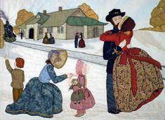 Bonnet Girls Civil War Fond Farewell Quilt Block - Pattern by Helen Scott
