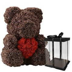 Modest Cute Pe Rose Bear Toy Women Girls Flower Birthday Wedding Decoration Party Doll Toy Anniversary Valentine Gift For Girl Friend Artificial Decorations
