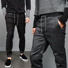 Charcoal Black Elastic Denim Jogger Pants Jeans P323