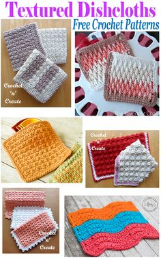 Free Crochet Patterns Textured Dishcloth Roundup - 6 free dishcloths patterns for you to enjoy, dishcloths are also a great way to learn . Crochet Scrubbies, Crochet Towel, Crochet Potholders, Knit Or Crochet, Crochet Crafts, Crochet Projects, Free Crochet, Dishcloth Crochet, Irish Crochet