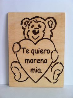 Wooden teddy custom Woodburning pyrography by Planetasierra