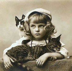my cats protect me from evil. vintage photo of cats and girl. Crazy Cat Lady, Crazy Cats, I Love Cats, Cool Cats, Hate Cats, Vintage Illustration, Photo Chat, Cat People, Cat Art