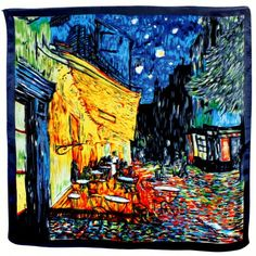 "Satin Charmeuse Square Silk Scarf with Edges - Van Gogh ""Cafe Terrace at Night"" - Orange"