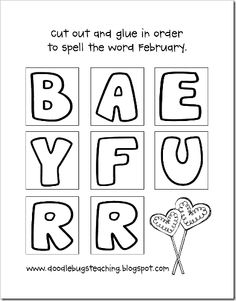 Cut & Glue the letters to spell February