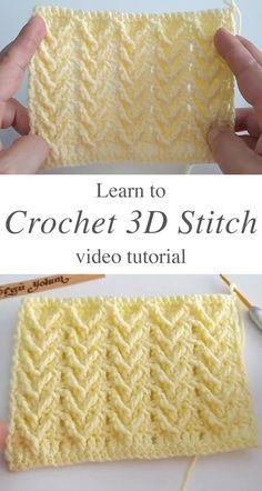 Easy Crochet Stitches, Crochet Stitches For Beginners, Afghan Crochet Patterns, Crochet Videos, Different Crochet Stitches, Crochet Crafts, Crochet Projects, Crochet Instructions, Crochet Designs