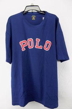 Polo Ralph Lauren Mens Patch Logo Tee Shirt Blue Big and Tall Size 2XB 4LT #PoloRalphLauren #LogoTee