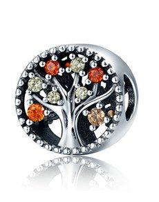 jewellery: Silver Round Open Tree of Life Red Cubic Charm!