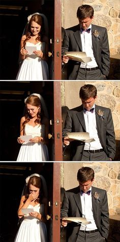 Humorous Wedding Vows | Young couple reading their wedding vows, separately | _Funny_Photos