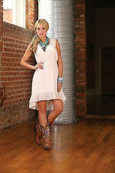 Wrangler Ladies Ivory High Low Ruffle Hem Dress