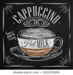 Poster coffee cappuccino in vintage style drawing with chalk on the blackboard Coffee Facts, Coffee Signs, Coffee Latte Art, Coffee Shop, Coffee Girl, Starbucks Coffee, Coffee Maker, Paleo Coffee Cake, Coffee And Bagel