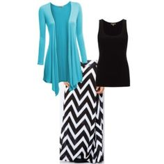 Blue, black & white chevron