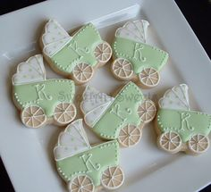 Baby Shower Cookies  1 dozen baby stroller by SweetArtSweets, $39.00