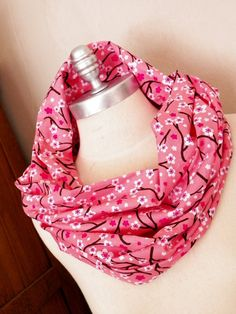 Scarf Floral Print Cotton Fabric Infinity Loop Cherry Blossoms by jamiesierraknits, $20.00