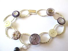 Antique button bracelet, 1800s china buttons, carved mother of pearl shell buttons, PURPLES & LAVENDERS!