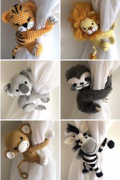 Crochet patterns for curtain tie backs monkey zebra koala lion tiger sloth Crochet Patterns Amigurumi, Crochet Hooks, Crochet Baby, Knitting Patterns, Crochet Curtains, Bead Crochet, Filet Crochet, Stitch Patterns, Crochet Crafts