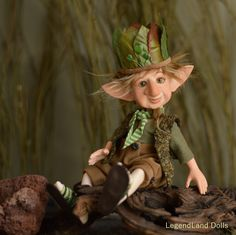 Her height is 22 cm - inches (+ hat). She has 7 points of articulation (head, arms, elbows, legs). Ball jointed and posable, made of fine porcelain (full body). Woodland Creatures, Fantasy Creatures, Troll, Porcelain Dolls For Sale, Fine Porcelain, Gnome Costume, Kobold, Dream Fantasy, Clay Fairies