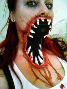 Horrifying face/throat zombie makeup (UGH!!!!)  Uh, YES I WANT TO DO THAT.