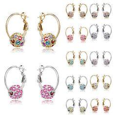 NE  1 Pair Fashion Women Crystal Rhinestone Ear Stud Hoop Earrings Jewelry Gift