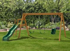 Come shop our Free-Standing A-Frame Swing Sets from Play Mor Wooden Swing Sets. Buy your A-Frame Swing Set today! Wooden Swing Set Plans, Build A Swing Set, Swing Set Kits, A Frame Swing Set, Diy Swing, Wooden Swings, Swing Sets Diy, Toddler Playground, Playground Set