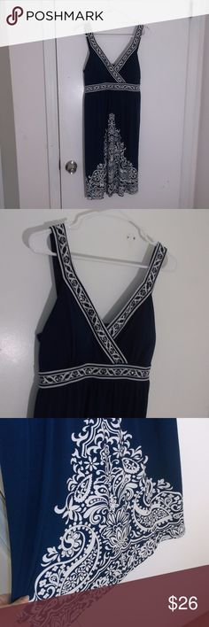 """Apt.9 Navy Blue Embellished Dress S Polyester Knit This is a misses dress by Apt.9 in a size small Polyester spandex knit fabric Sleeveless with 1 inch straps, v neckline Pull over style Gathered empire waist , padded bodice Navy blue in color with white floral design on straps, waist and hemline Straps and bodice embellished with silver """"sequins"""" or pailletes approx length is above knee or knee length In excellent used condition Apt. 9 Dresses Midi"""