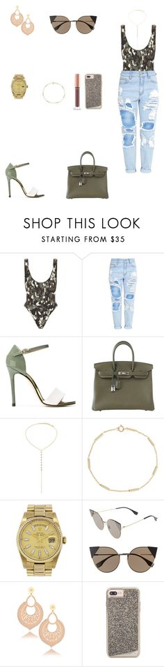 """Look do Dia"" by julianaf1609 ❤ liked on Polyvore featuring Norma Kamali, Marc Ellis, Hermès, Jennifer Meyer Jewelry, Rolex, Fendi and LK Designs"