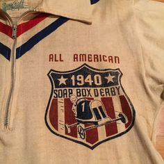 "Vintage 1940's ""Soap Box Derby Champ"" Cotton Knit Half Zip Jersey Shirt | eBay"