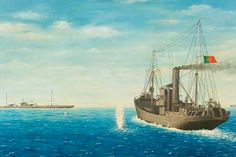 """A painted recreation of the fight between the German  U-139 and  the Portuguese naval trawler """"NRP Augusto Castilho""""."""