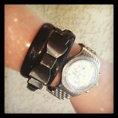 My stacked wrist of the day: Skinny gunmetal bow snake belt worn as a wrap bracelet. #ObsessedWithBows