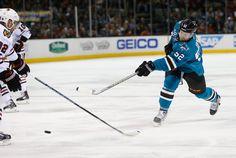San Jose Sharks defenseman Matt Irwin fires a shot on goal (Jan. 31, 2015).