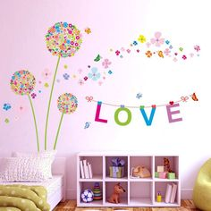 Colorful Dandelion Flowers and LOVE sign Home Decor Wall Stiker Decal cm for Kids Children girls Bedroom DIY Removable Great Room Paint Colors, Baby Room Colors, Living Room Colors, Teenage Girl Bedrooms, Girls Bedroom, Bedroom Decorating Tips, Baby Wall Decor, Boy Girl Room, Pretty Room