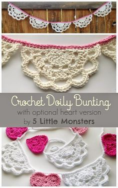 Crochet Doily Bunting (includes version with hearts and doilies) Free Crochet Pattern from 5 Little Monsters Love this bunting pattern, quick and easy too Thread Crochet, Love Crochet, Crochet Motif, Crochet Crafts, Crochet Doilies, Crochet Flowers, Crochet Stitches, Crochet Projects, Crochet Patterns