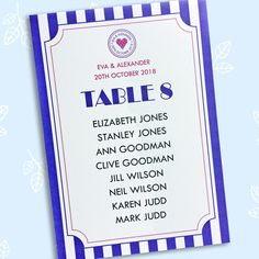 Just the Ticket printed wedding table name cards Wedding Table Name Cards, Ticket Printing, Wedding Events, Wedding Day, Festival Wedding, Table Numbers, Wedding Stationery, Your Cards, Wedding Colors