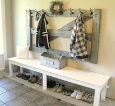 entry way, bench, tool box, rustic