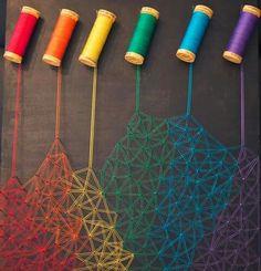 """I attempted some dripping crayon art"", a tongue-i String Wall Art, Nail String Art, Fun Crafts, Diy And Crafts, Arts And Crafts, Drip Art, String Art Patterns, String Art Tutorials, Thread Art"